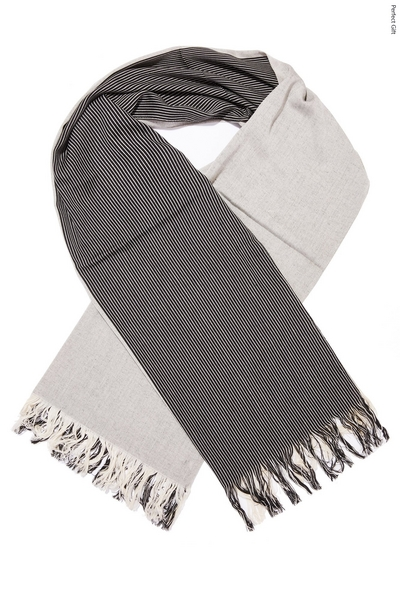 Black and White Stripe Cotton Scarf